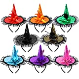 ADXCO 8 Colors Halloween Sequins Witch Hat Headbands Halloween Costume Headwear for Halloween Party Supplies