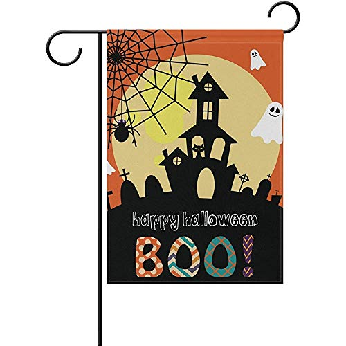 Starojul Decorative Happy Halloween Day Boo Garden Yard Flag Banner for Outside House Flower Pot Double Side Print Polyester 12' x 18'