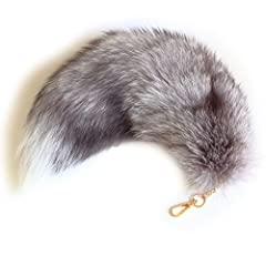 MATERIAL: Silver fox tail and a key chain DOMESTIC: Please note that these tails are from farm raised foxes and not wild foxes. The fox breeding industry has always been an important source of income for our local economy. HUGE: All tails are careful...