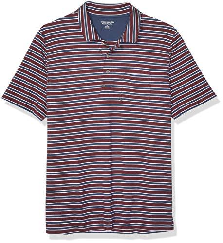 Amazon Essentials Men's Regular-Fit Pocket Jersey Polo, Burgundy Stripe, Medium