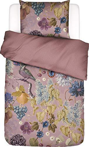 ESSENZA Veronique - Juego de cama (satén, algodón, 155 x 220 cm y 80 x 80 cm), diseño de flores