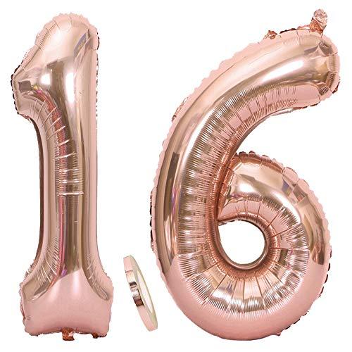 Feelairy 2 Numero di Palloncini 16 XXL Oro Rosa, Palloncino Foil Gigante Numero 16 con Nastro, Numerici Palloncino Gonfiabile 40