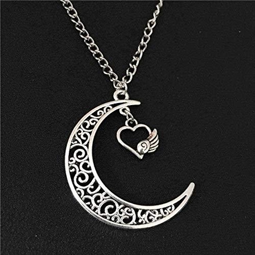 JIUJINSommermode Romantischer Schmuck Einfache antike Silbermond Anhänger hohles Herz Engelsflügel Charms 70CM Kette lange Halskette