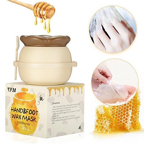 Hand Wachs, Luckyfine Milch & Honig Exfoliating Entfernen abgestorbene Haut Maske, Whitening Feuchtigkeitsspendende Hand- und Fusspflege Peeling Schwielen