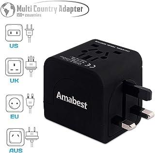 Amabest International Universal Travel Plug Adapter Converter Type A/B/C/D/F/G/H/I/J/M/N Plug World Travel Adapter for USA, UK, European, Japan, Thailand, India, Italy, Spain, Australia, Bali, France