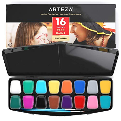 Arteza Face Paint Kit, 16 Colors, Water Based, Includes 2 Brushes, 24 Stencils, 14 Temporary Tattoos, Nontoxic Paint for Professional Halloween Costumes, Festivals, Theater & Special Effects