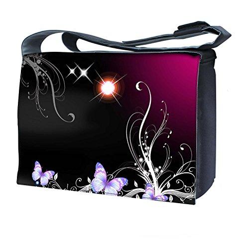 Luxburg-UK-NB 10001-17-01-02-SB-Design-Borsa Messenger per PC portatili da 17', motivo: sole, con tracolla, motivo: farfalle e pianta magica