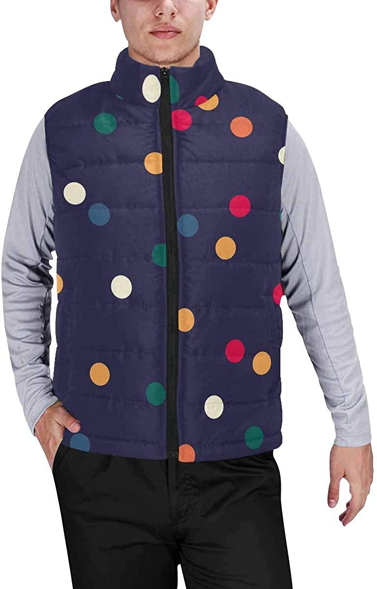 InterestPrint Men's Outdoor Casual Stand Collar Sleeveless Jacket Colorful Frogs