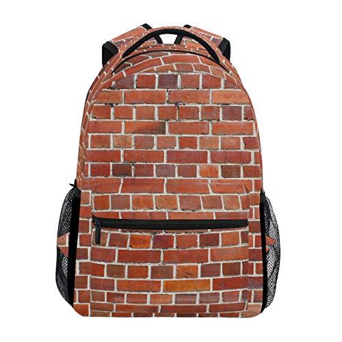 Rucksack für Schule und Büchertasche mit roten Ziegelsteinen, wasserdicht, für die Schule und für Mädchen/Jungen / Teenager