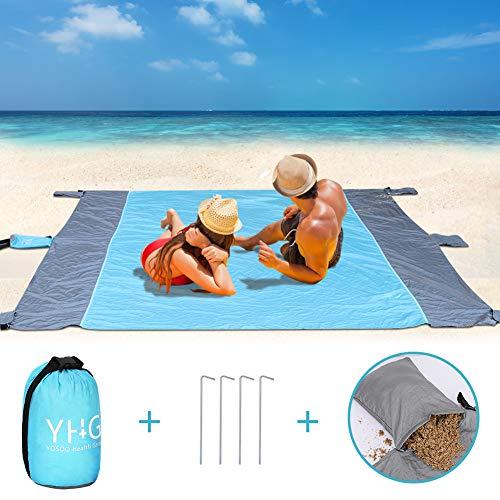 Stranddecke Wasserdichte Sandabweisende (213*275CM), Sandfrei Ultraleicht Stoff Strandmatte Picknickdecke Waschbar Waschmaschine Campingdecke Nylon Picknickmatte mit 4 Sandtaschen und 4 Metallpfählen