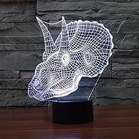 恐竜の頭3D LEDナイトライトクリエイティブホームデコレーション3Dビジョン3Dビジュアル照明7色変更USB充電テーブルランプ誕生日プレゼントエンターテイメント装飾ギフト子供のおもちゃ [並行輸入品]