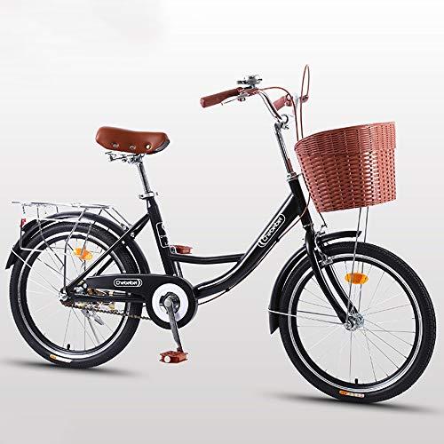 2020 Cómoda Bicicleta De Ciudad con Una Canasta, Bicicleta, Elegance Bicicleta Urbana, City Bike, Bicicleta Paseo, Bicicleta De Paseo Mujer, Bicicleta Urbana Vintage Retro,Negro,24 Inches