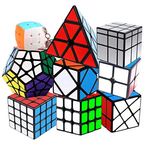 Coolzon Speed Cube, Set di Cubo Magico 2x2 3x3 4x4 Pyraminx Megaminx Mirror Cube Skewb Fisher Mini Cubo, Puzzle Cube Speedcube Regali per Bambini Adulti, 9 Pack