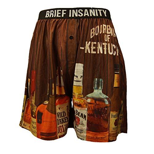 BRIEF INSANITY Men's Boxer Shorts Underwear Bourbon of Kentucky Print Brown Orange