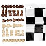 Juego de ajedrez de madera, juego de ajedrez internacional de madera con tablero de ajedrez de pl¨¢stico perfecto para ambos ni?os adultos