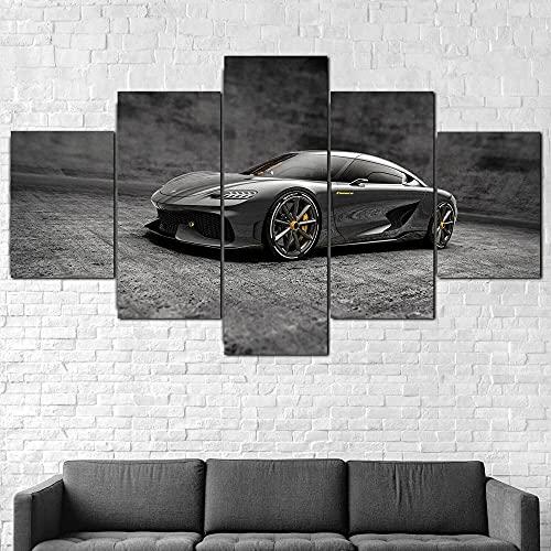 Cuadro sobre Lienzo-5 Piezas-Impresión En Lienzo-Koenigsegg Gemera Sports Car Coche deportivo Impresiones sobre Lienzo Póster Mural 5 Piezas Lienzo Pintura Impresa Óleo Lona Pintura Regalos