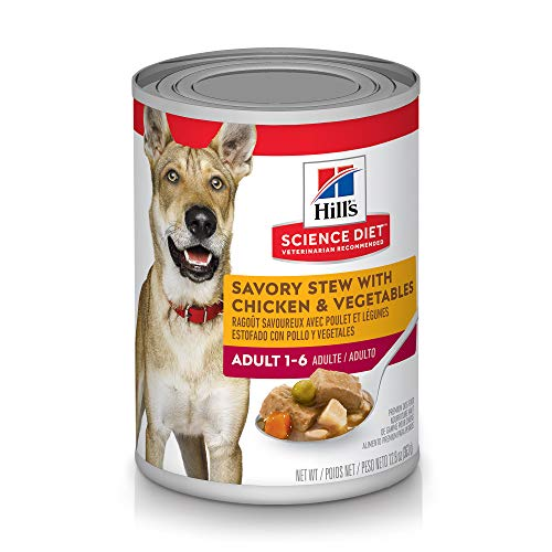 Hill's Science Diet Wet Dog Food, Adult, Savory Stew with Chicken & Vegetables for Pugs