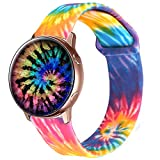 Idealiveny Silicone Band Compatible with Samsung Watch Active 2 40mm 42mm Women Sport 20mm Replacement Strap for Galaxy Watch 42mm Gear Soft Sport Wristband Double Side Pattern (Rainbow Tie Dye)