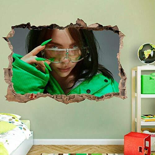 BAOWANG Wandtattoo Billie eilish 3d Wandtattoo Wandaufkleber Wand gebrochen