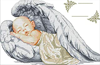 Joy sunday Stamped Cross Stitch Starter Kits Beginners Cross-Stitching Accurate Pre-printed Pattern - A Sleepy Little Angel 11CT 24 In X 17 In, Frameless (picture printed K777)