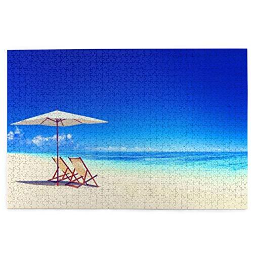 Rompecabezas de fotos para todas las edades, apto para Navidad, toldo bajo rayos de sol, diseño náutico para temporada de verano y casas de playa, 1000 piezas
