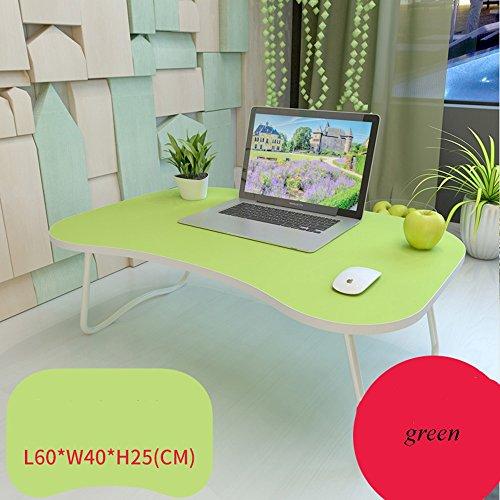 XIA Bureau d'ordinateur table pliante table d'étude vert bleu noyer noir 60 * 40 * 25 cm (longueur * largeur * hauteur) étudiants du Collège dortoir table paresseux bureau simple (Couleur : Green)