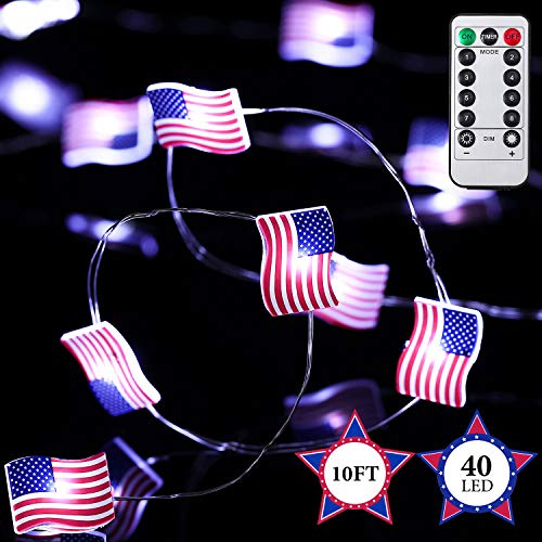 Frienda Independence Day Patriotic Decor American Flag Lights Memorial Day Lights for 4th of July 10 ft 40 LEDs Decorative String Lights with Remote Control