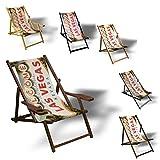 Printalio - Welcome to Las Vegas - Liegestuhl Bedruckt Balkon Garten Sonnenliege Relax Holz Terrasse | Aluminium, Grau