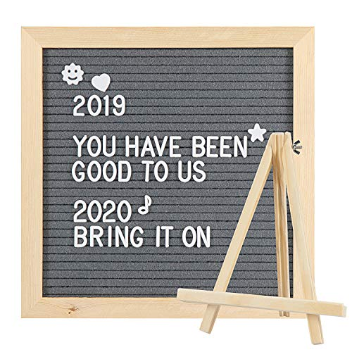 Grey Felt Letter Board with Stand for Home & Office Letter Board with Letters Message Board 10x10 inch Solid Wood Frame Hanging Letter Board & Tabletop Display with Storage Bag