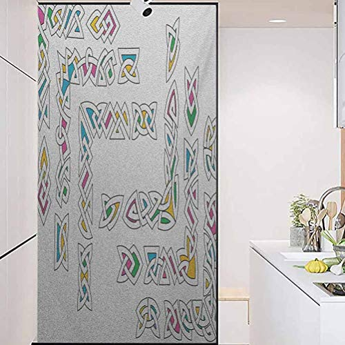 wonderr No Glue 3D Electrostatic Glass Film for Doors and Window, Irish Celtic Ornament Patterns Set Colorful Vibrant Ent, Bathroom Office Meeting Room Living Room Window Membrane, W35.4xH78.7 Inch