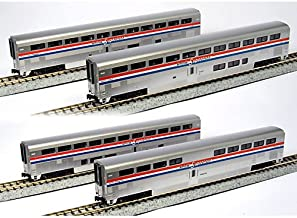 Kato USA Model Train Products Amtrak Superliner Phase III Car Set A, 4-Piece