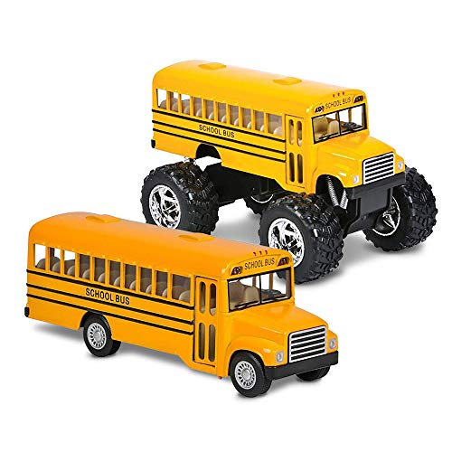 ArtCreativity 5 Inch Pull Back School Bus Toy Set - Set of 2 - Includes 5 Inch Monster-Wheel Bus and 5 inch Classic Schoolbus, Diecast Bus Playset with Pull Back Mechanism, Great Gift Idea for Kids