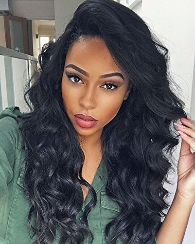 Arenshxc 4x4 Closure Wig Perücke Echthaar 12 zoll Body Wave Swiss Lace Closure Wigs Free Part mit Baby Hair 130 Dichte For Women Natural Black Peruvian Real Remy Hair Amazon Prime