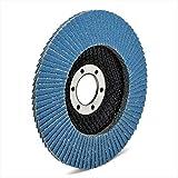 10 discos de abanico profesionales, color azul, diámetro 115 mm, grano 120, acero inoxidable, discos abrasivos