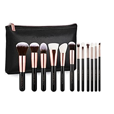 Rose Gold Luxury Brush Set - Vintage Rose 12pc Makeup Face & Eye Essentials | Premium Quality | Handcrafted | Ultra Soft and Dense