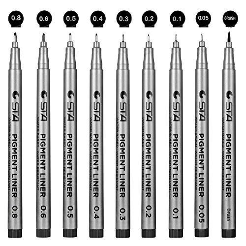 Powcan Bolígrafos De Tinta Fineliner Micro-Pen Negro-Tinta De Archivo a Prueba de agua bolígrafos micron liner punto fino, 9 / Set