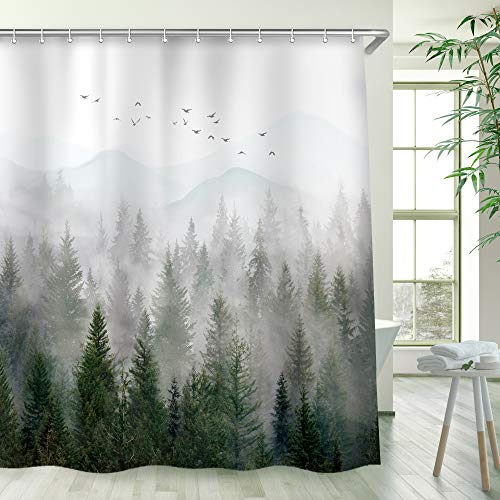 RosieLily Misty Forest Shower Curtain Foggy Pine Tree Mountain Woodland Bath Curtain Beautiful Scenery Landscape Bathtub Decor 78 Inch Shower Curtain with 12 Hooks(72x78)