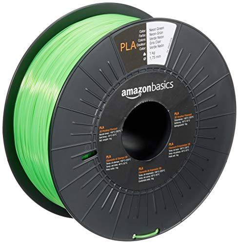 Amazon Basics - Filamento para impresora 3D, ácido poliláctico (PLA), 1.75 mm, cinta de 1 kg, verde neón