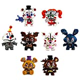 BESTZY Five Nights at Freddy's Action Figure 8pcs Foxy, Gold Freddy, Chica e Endoscheleton Freddy(6,5 cm)