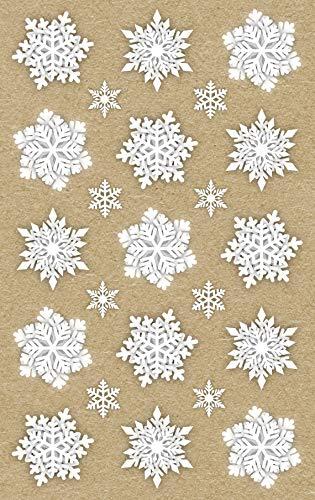 AVERY Zweckform Art. 52290 Aufkleber Weihnachten 30 weiße Eiskristalle (Weihnachtssticker aus Recycle-Papier, selbstklebende Weihnachtdeko für Karten, Geschenke, DIY) 2 Bogen mit je 15 Stickern