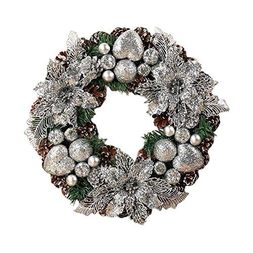 FEEE-ZC Christmas Wreath Artificial Handmade Garland Door Decoration Supplies New Year Party Shopping Mall Window Advent Wreath Wreath (Color : White)