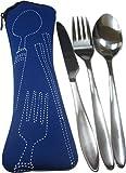 Reisebesteck Set Messer, Gabel, Löffel mit Tasche in verschiedenen Farben (blau)