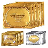 ALIVER 24k Gold Bio Collagen facial Máscara, Gold Powder Eye Mask y Lip Mask ( 5 sets / paquete )