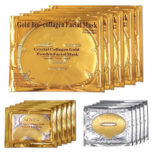 ALIVER 24k Gold Bio Collagène Masque, Masque Pour Les Yeux Poudre D'Or et Masque À Lèvres (5 Ensembles/Paquet)