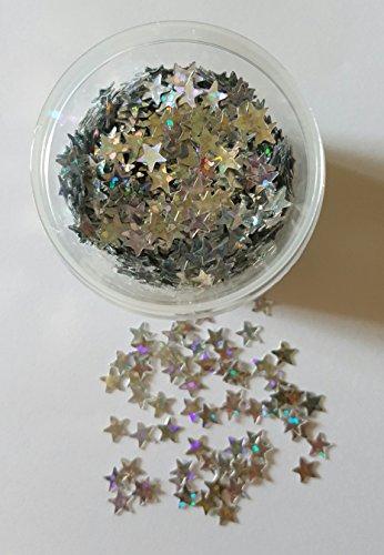 NEW Nail Art étoiles en argent irisé 50 pièces paillettes Jaquette pour kit ongles Glitter Nail Accessoires