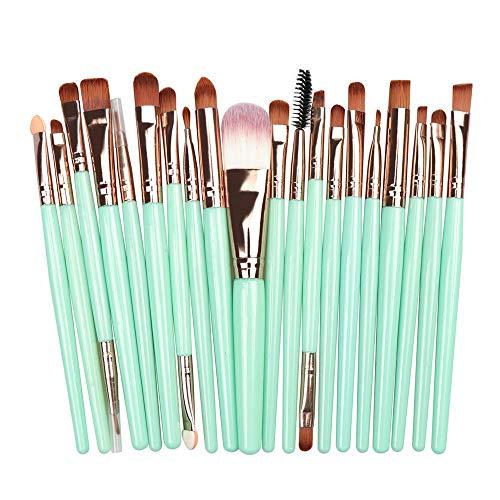 Pinceau De Maquillage Professionnel Fard À Paupières Foundation Eye Lip Brush Set, Green + Rose Gold