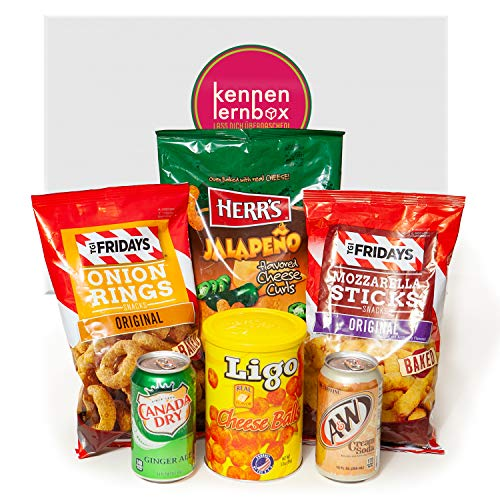 Chips Box aus Amerika | Kennenlernbox mit 6 beliebten Chips und Getränke aus den USA | Geschenkidee für besondere Anlässe wie Geburtstage