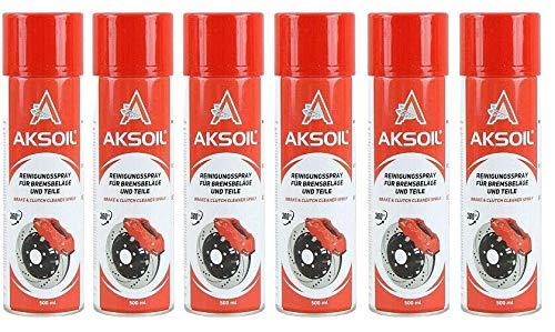 AKSOIL Bremsenreiniger 6X 500ml Fettlöser Teile Reiniger Reiniger Brake Cleaner