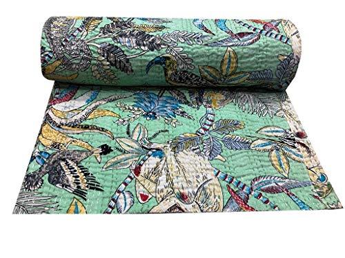 Indian-Shoppers - Copriletto indiano con stampa di scimmie, in cotone indiano, stile kantha, per letto matrimoniale, copriletto in stile etnico
