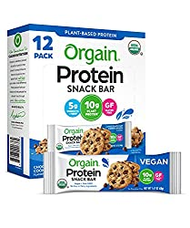 Orgain Organic Protein Bar, Chocolate Chip Cookie Dough, Gluten Free, Non-GMO, USDA